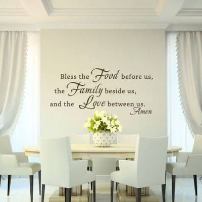 Bless The Food Wall Sticker Family Love Amen Quote Kitchen Vinyl