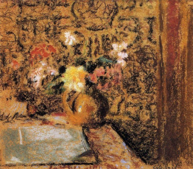 Still Life with FlowersbyEdouard Vuillard   Size: 19x22.2 cm Medium: pastel