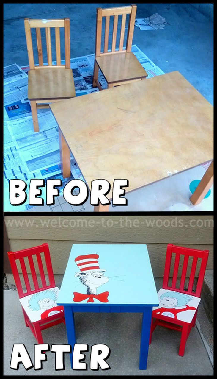 Dr. Seuss Kids Table and Chairs Furniture Makeover. This website has many  other furniture