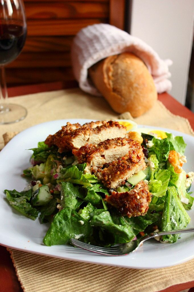 brown sugar amp pecan crusted chicken goat cheese salad