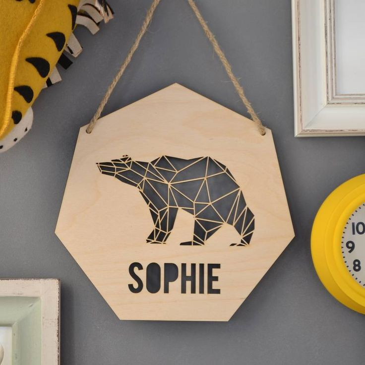 Personalised Geometric Bear Sign