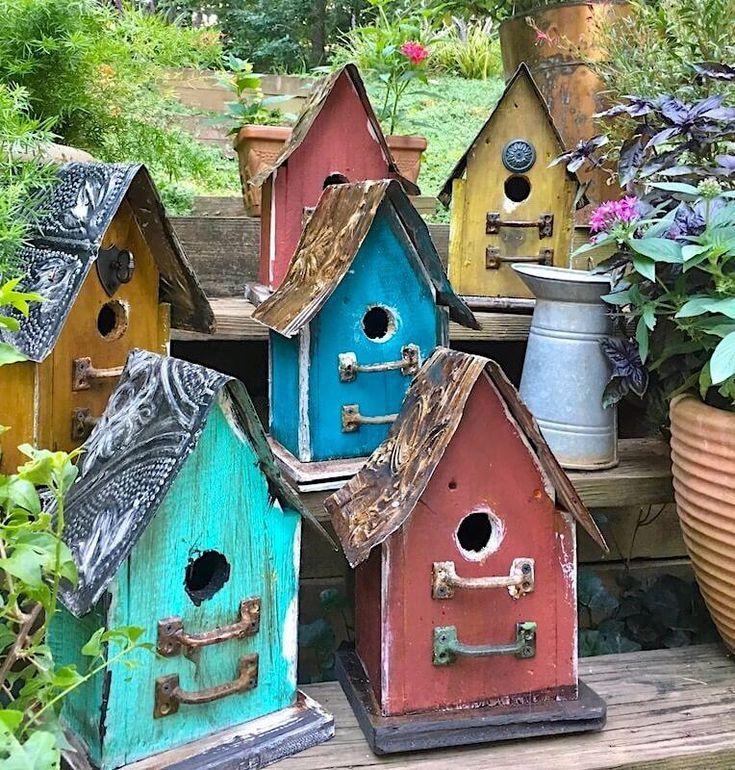 Barn Wood Tin Rustic Birdhouses In 2020 Birdhouses Rustic