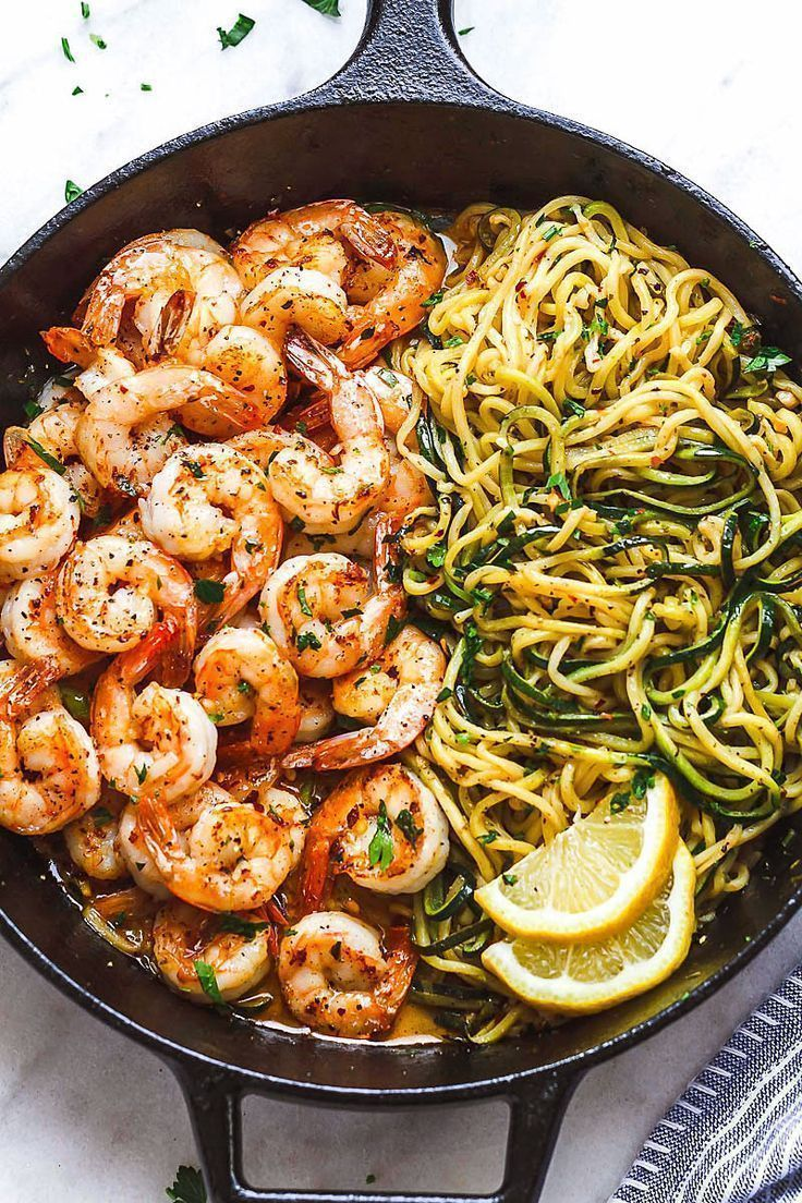 10-Minute Lemon Garlic Butter Shrimp with Zucchini Noodles – This fantastic meal