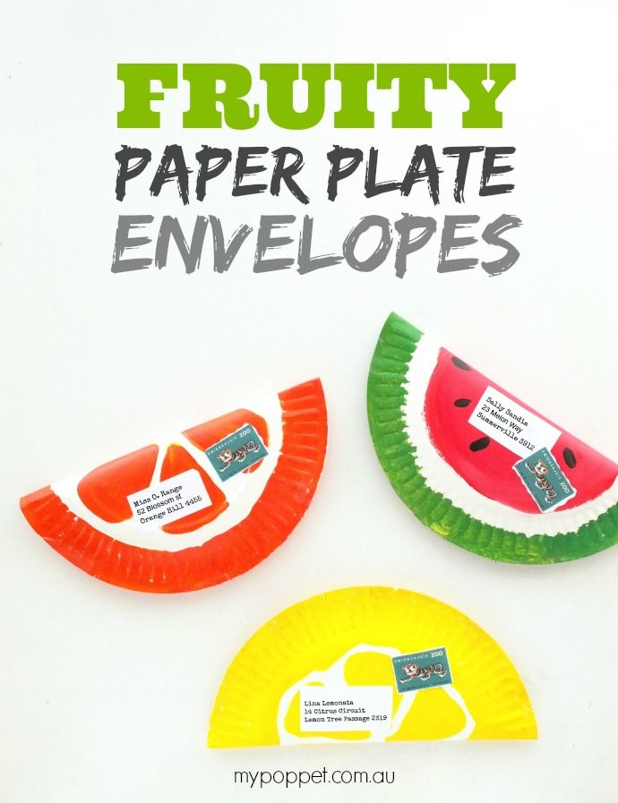 Fruity Paper Plate Envelopes | My Poppet Makes