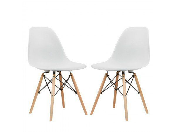 Set of 2 eames style vortex molded plastic dowel leg for Eames molded plastic dowel leg side chair