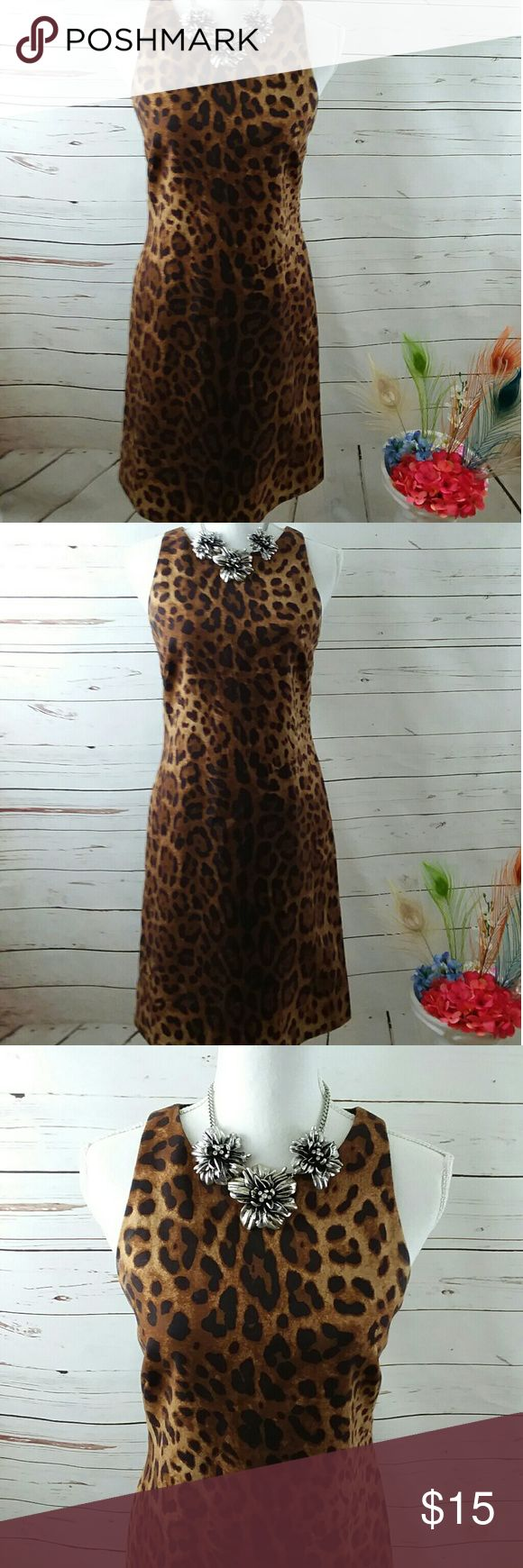 RAFAELLA ANIMAL PRINT SHIFT DRESS SZ 6P Does is a lady's Rafaella petite shift dress. It is a 6 petite. It is lined. It is brown light brown and black animal print new line it is in great preowned condition and is hold without staying or flaws. Rafaella Dresses Midi