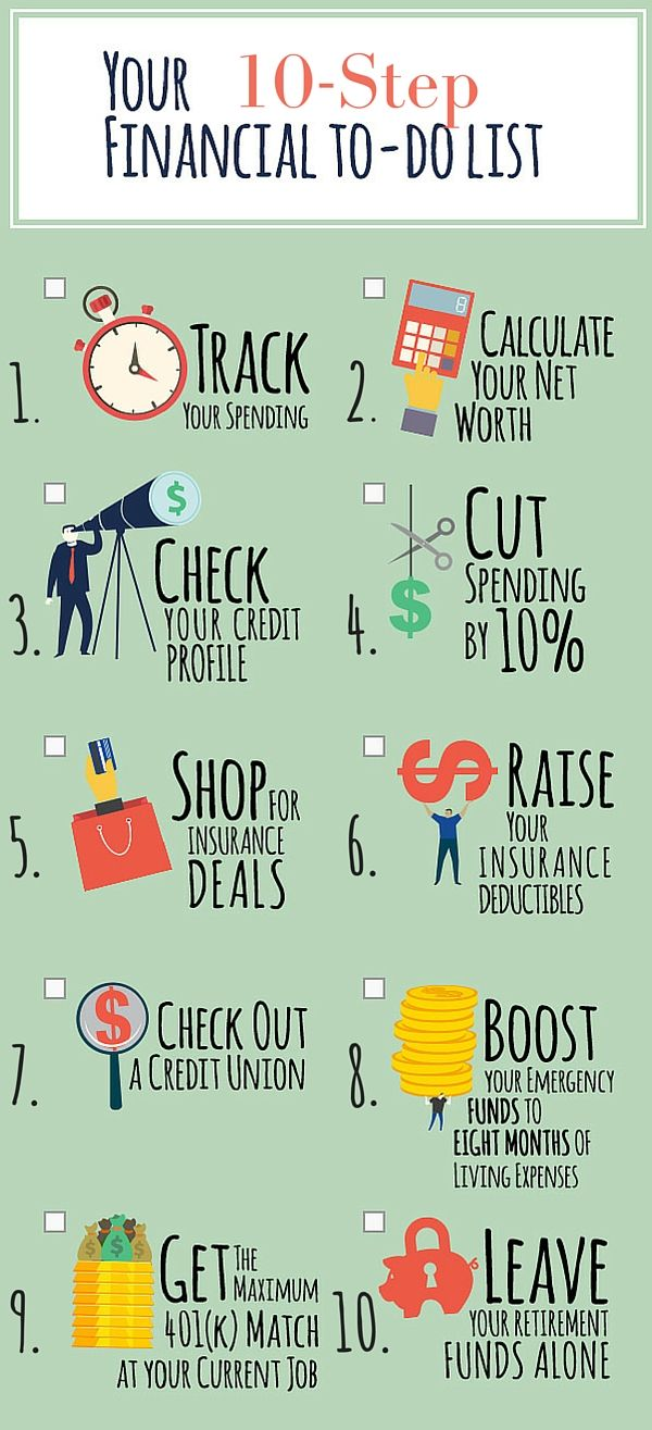 PRINT IT: Rein in spending, learn how to save money and build security with Suze Orman's financial to-do list.