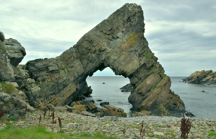 Rocks outside the now deserted Tarlair lido near Macduff, Aberdeenshire.