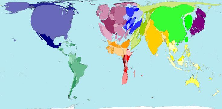Este extraño mapamundi, corresponde a la huella ecológica de cada país (los datos son del 2006 ahora muchos están mas gordos) en http://ecocosas.com/eg/paises-flacos-gordos/
