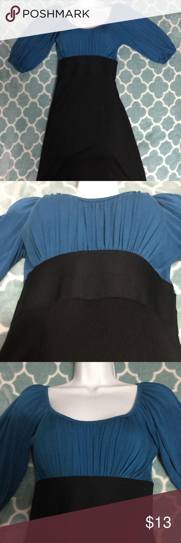 Beautiful Sophie Max Dress Size XS Blue & Black Gorgeous Sophie Max Size XS dress.  Dress was only wore a couple of times so is in EUC!!!  This dress shows your curves!!! Dress comes to right above the knees Sophie Max Dresses Midi