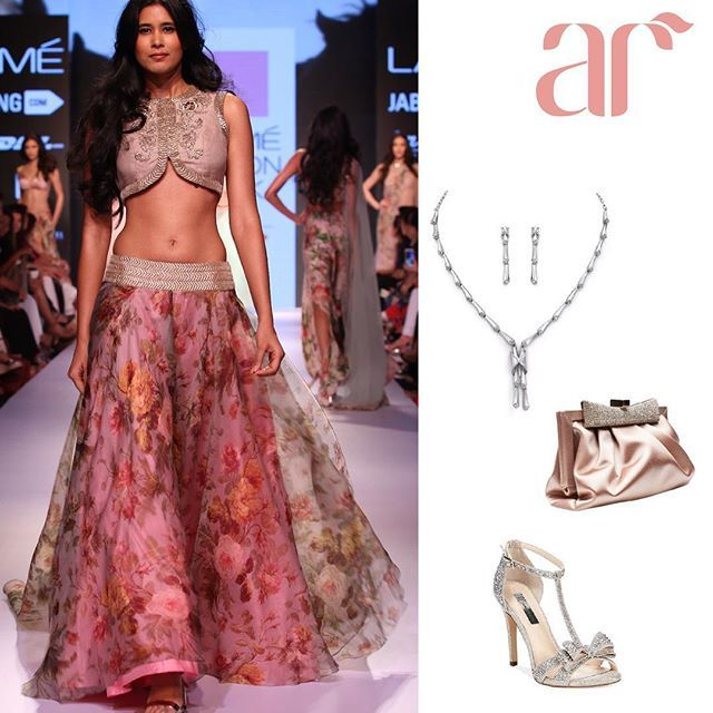Accessories just have a way of amping up an outfit.  This Anushree Reddy lehenga goes perfectly and this platinum neck piece by Evara Jewellery @trueplatinum950 & Jimmy Choo heels!