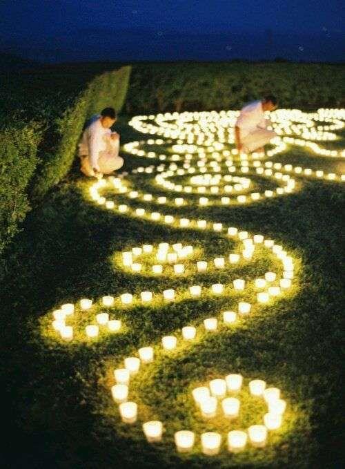 Decorazioni per il matrimonio all'aperto - Decorazioni per il prato con candele