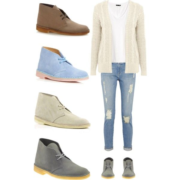 Desert Boots by megann01 on Polyvore featuring polyvore, fashion, style, Warehouse, H&M, Frame Denim, Clarks, River Island and clothing