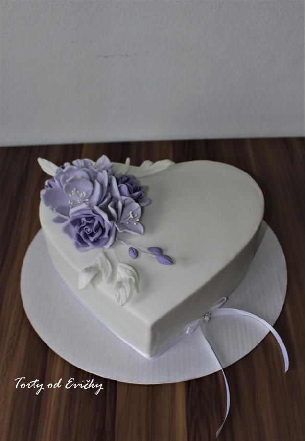 Violet heart shaped cake by Cakes by Evička - http://cakesdecor.com/cakes/279113-violet-heart-shaped-cake