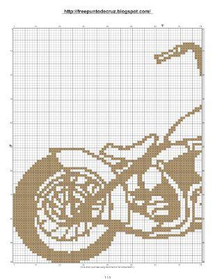 Dibujos Punto de Cruz Gratis: Moto en patrones punto de cruz