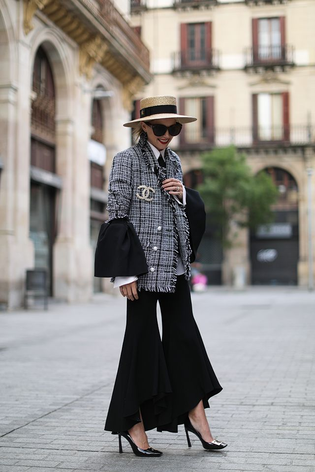 "Pumps: Roger Vivier ""Belle Vivier Trompette"" Bell sleeve Top: Roksanda. tweed Jacket: Storets Pants: Zara Hat: Gucci Brooch: Chanel #StreetStyle"