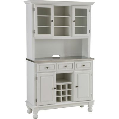 Home Styles Premium Kitchen Buffet And Hutch With Stainless Steel Top White