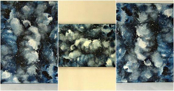Small art canvas stars galaxy art abstract art by TheLuckyStones