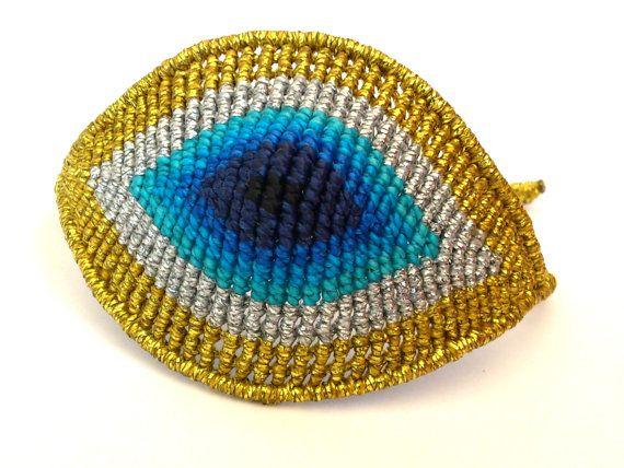 Huge Evil Eye Macrame BraceletMicromacrame Jewerly by MACRANI