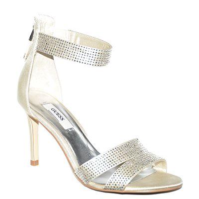 #Sandalo con tacco medio alto con cinturino in caviglia realizzato in raso di color avorio e strass di #Guess  http://www.tentazioneshop.it/guess/sandalo-dandrea-platino-guess.html