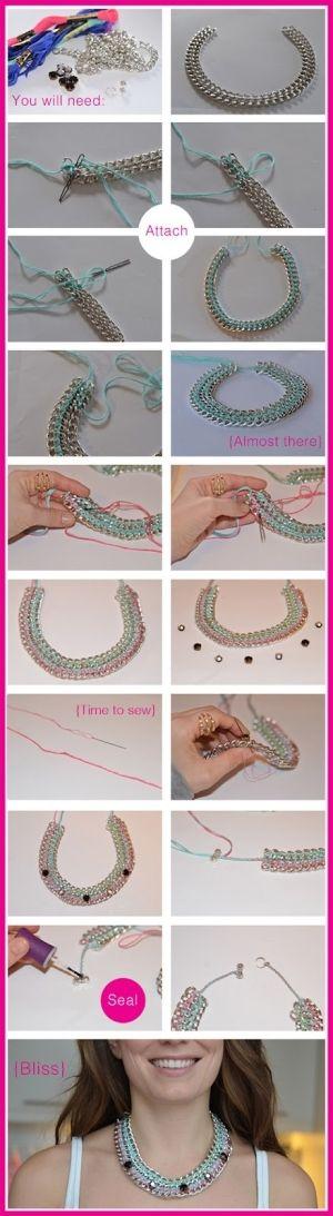 collar de cadena y cintas paso a paso
