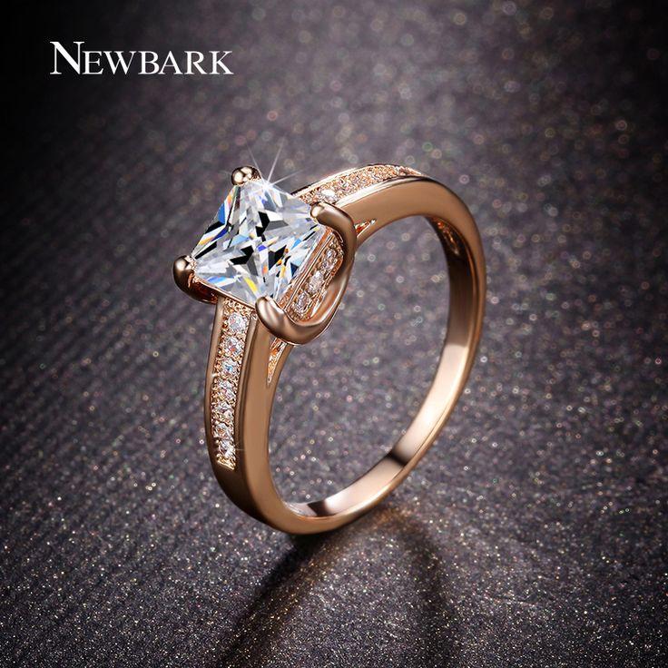 NEWBARK Classic 4 Prongs Setting Engagement Rings For Women Princess Cut CZ Diamond Minimalist Anel Rose Gold Plated Jewelry