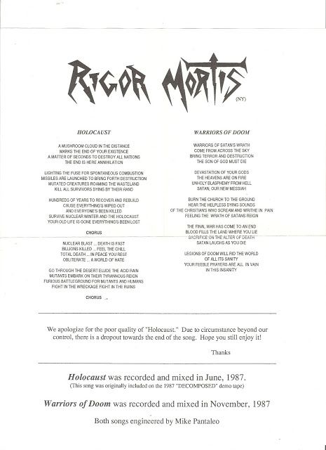 RIGOR MORTIS - RIGOR MORTIS 7'' (THIS IS THE NYC RIGOR MORTIS ON SERAPHIC DECAY, NOT TO BE CONFUSED WITH PRE-DEATH- FLORIDA- RIGOR MORTIS)