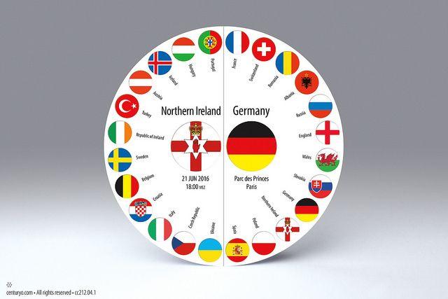 Fußball Einladungskarte zum Spiel Nord-Irland : Deutschland am 21. Juni 2016 um 18:00 Uhr • freistehende, runde Falt-Karte für Standardkuverts • cc212.04 • #Fußball #rund #Karte #radial #Dekoration  #Papier www.centuryo.com