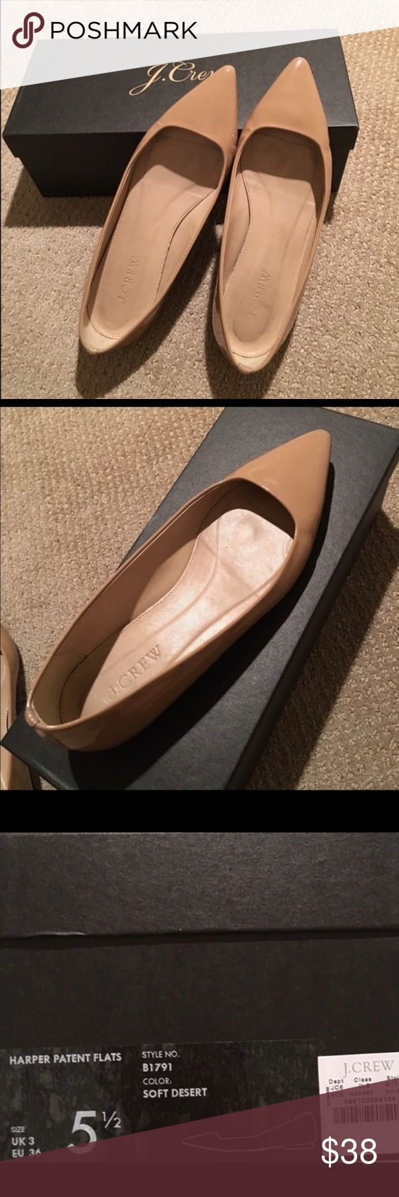 Harper J Crew flats Super cute nude patent J Crew Harper flat. Stylish pointed toe. Size 5.5. J. Crew Shoes Flats & Loafers