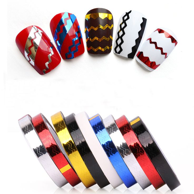 Wholesale 30Rolls Nail Art Tips Stickers DIY Waves wavy Striping Tape Line Decor Decals(Fashion 6Colors) #@HR224F