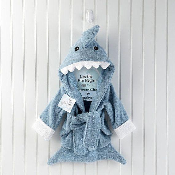 Blue Personalized baby boy bath Robe Terry Shark