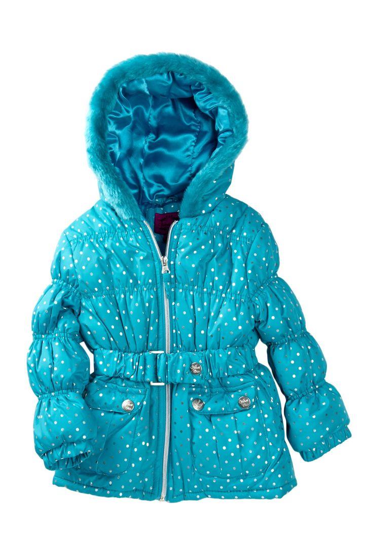 Velvet Chic Belted Puffer Jacket (Little Girls)