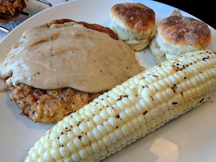 [homemade] Chicken fried steak gravy buttermilk biscuits and corn on the cob