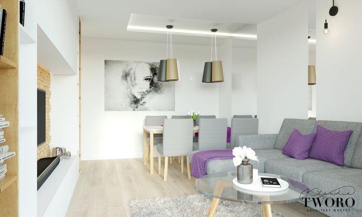 Salon fiolet nowoczeny