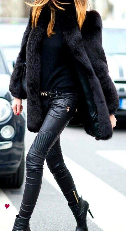 faux fur & leather #clothesenvy #streetstyle #clothesenvymoment