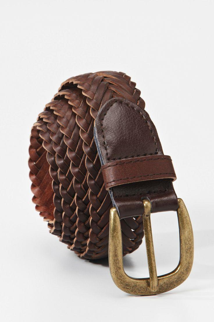Leather Weave Belt - Brown | Belts | Roger David