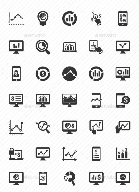 Online Business Report Icons Gray Version Online Business