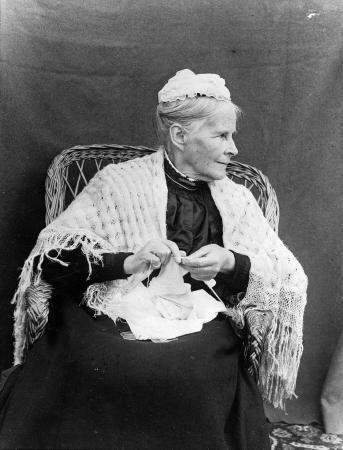 Maria Williams knitting, early 20th century