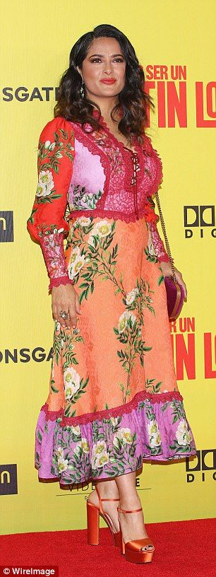 Eternal: Salma Hayek, 50, matched her colourful ensemble to her bubbly personality as she attended the eagerly anticipated premiere of her new flick How To Be A Latin Lover at the Teatro Metropolitan in Mexico City on Wednesday