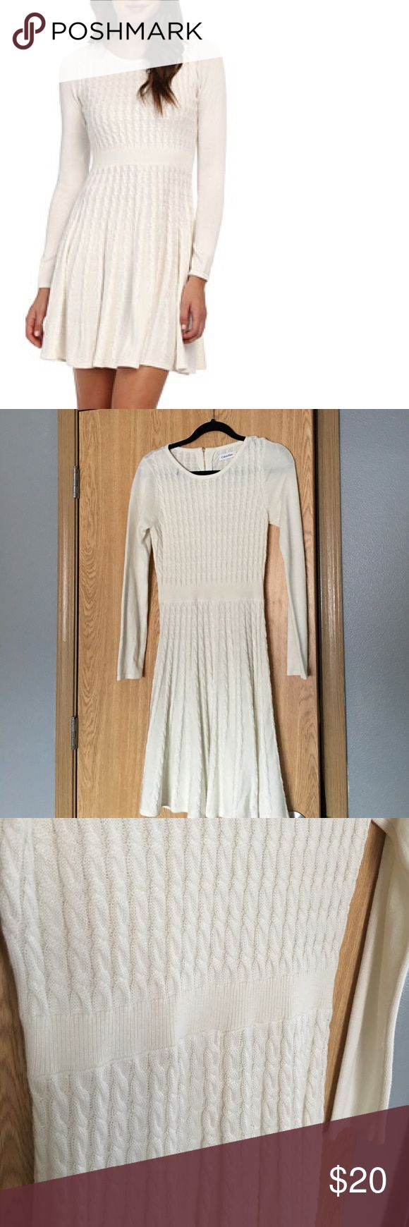 Calvin Klein long sleeve sweater skater dress Worn once still perfect condition. Very comfy!  size small Calvin Klein Dresses Long Sleeve