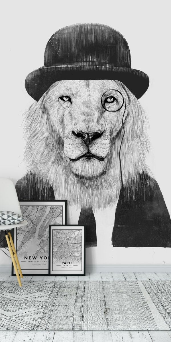 Sir Lion Wall Mural Lion Wallpaper Wall Murals Lion Sculpture