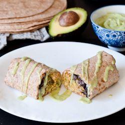 Chipotle Chicken Burritos, Avocado Crema + an Avocado Blog Hop
