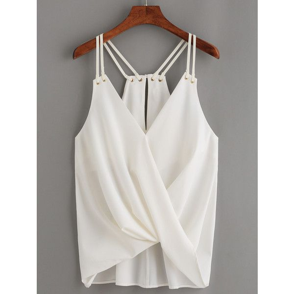 White Keyhole Racerback Draped Strappy Cami Top ($12) ❤ liked on Polyvore featuring tops, white, spaghetti-strap tank tops, cami tank tops, white camisole, racerback tank and spaghetti strap top