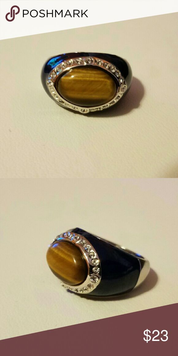 lia sophia Tiger Eye ring Sz 9. Tiger Eye, navy blue enamel and rhodium with cut crystals. Lia Sophia Jewelry Rings