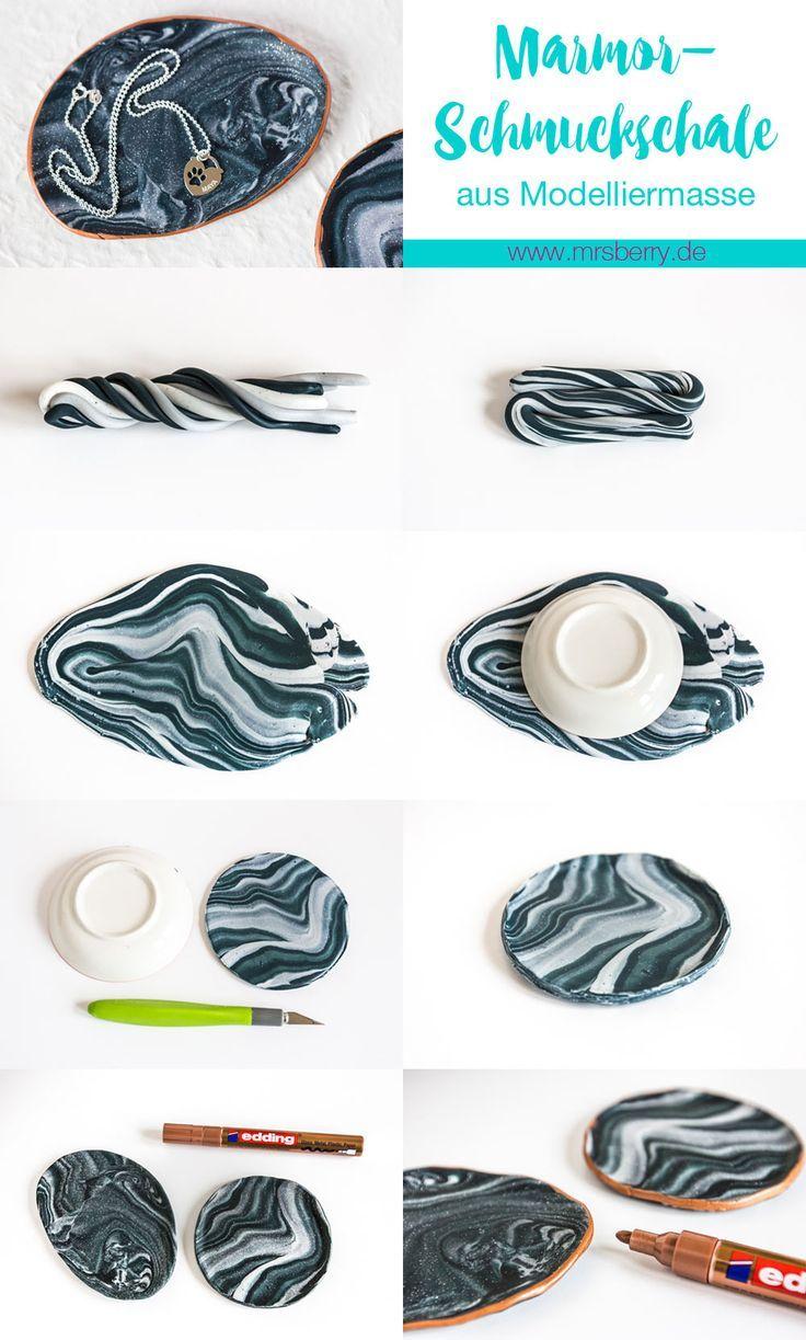 MrsBerry.de DIY   So einfach könnt ihr eine hübsche Marmor-Schmuckschale bzw. Schmuckteller aus Modelliermasse (Fimo) selber machen.