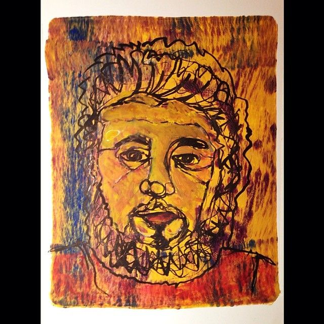 Hairy Hipster | Mike Brennan Acrylic Gelli plate print, watercolor and gouache. Ink drawing with bamboo pen. #watercolor #acrylic #gouache #ink #bamboo #pen #drawing #gelliprint #gelliplate #monotype #printmaking #lineart #man #beard #haiy #hair #face #portrait #painting #art #yellow #gold