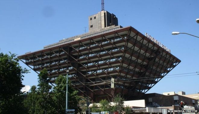 """The """"upside down pyramid"""" Slovak National Radio building: concert site. Also where the LOTR soundtrack was recorded."""