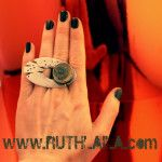 Silver Ring with Shrapnel By Ruth Laila Steffensen.