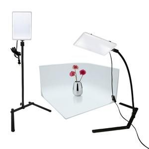 LED Light Panel with Gooseneck Extension Adapter, Mini Table Top Light Stand, White Seamless Studio Matte Cyclorama Module Background, Photo Video Lighting Kit