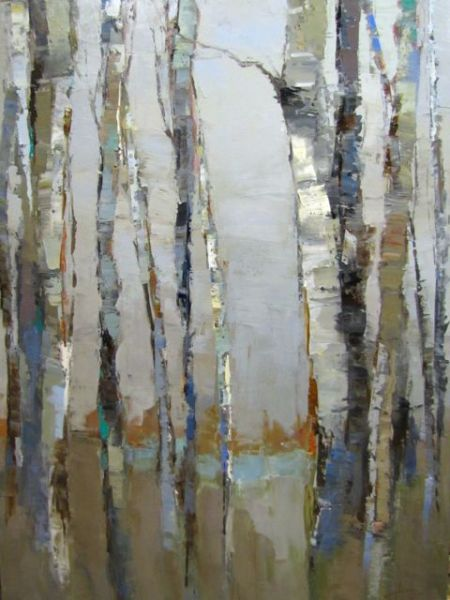"""Barbara Flowers, """"Birch Shapes and Colors"""", Oil on Canvas, 48x36 - Anne Irwin Fine Art"""